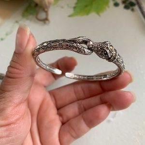 JH Jai 14k Gold Silver & Emerald Croco Bracelet